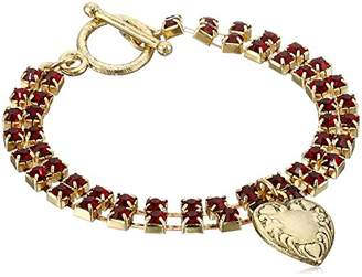 1928 Jewelry Gold-Tone Two-Row Crystal Heart Charm Bracelet