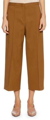 Jil Sander Full-Leg Virgin Wool Cropped Culotte Pants