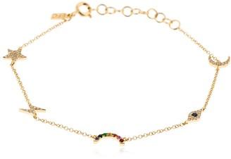 Ef Collection Cosmic Diamond 14kt Gold Charm Bracelet