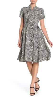 Nanette Lepore NANETTE Patterned Pintuck Pleat Midi Dress