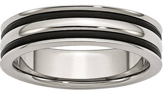 Primal Steel Stainless Steel 6mm Grooved and Black Rubber Band
