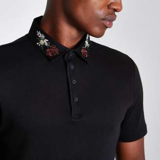 River Island Black embroidered collar slim fit polo shirt