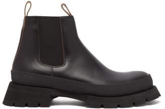 Jil Sander Leather Tread Sole Chelsea Boots - Mens - Black