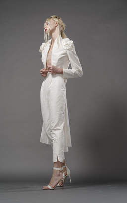 Elizabeth Fillmore Bowie Silk Tail Jacket With Shoulder Embroidery