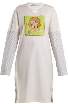 Prada - Comic Print Cotton Top - Womens - Beige Print