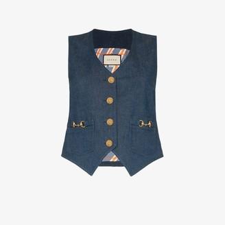 Gucci V-neck horesbit denim waistcoat
