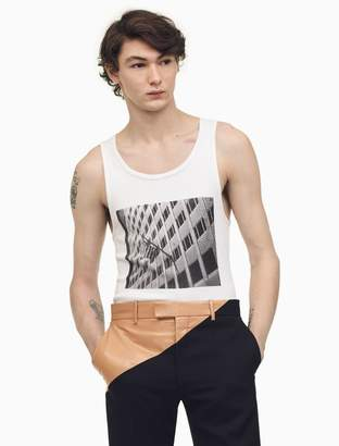 Calvin Klein american flags and buildings tank top