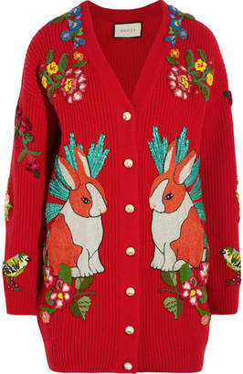 Gucci Embellished Ribbed Merino Wool Cardigan - Red