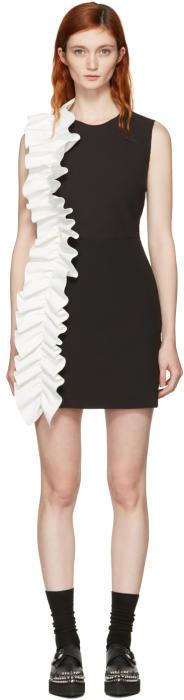 MSGM Black Contrast Ruffle Shift Dress