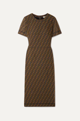 Fendi Printed Stretch-mesh Midi Dress - Brown