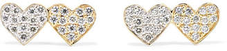 Sydney Evan Double Hearts 14-karat Gold Diamond Earrings