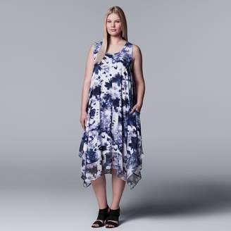 Vera Wang Plus Size Simply Vera Printed Handkerchief Tank Dress