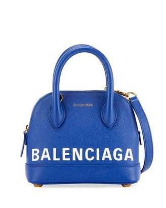 Balenciaga Ville Grained Leather Logo Top-Handle Tote Bag