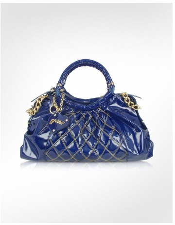 Ghibli Blue Quilted Patent Leather Large Satchel Bag