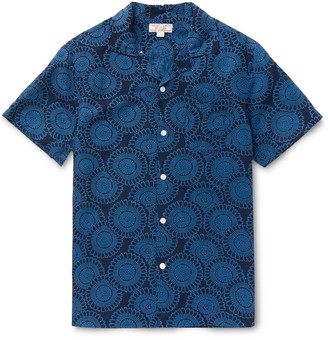 J.Crew Camp-Collar Printed Silk and Linen-Blend Shirt $150 thestylecure.com