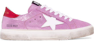Golden Goose May Distressed Metallic Suede And Leather Sneakers - Lilac