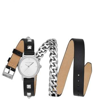 Rebecca Minkoff BFFL Chain and Leather Strap Watch, 25mm
