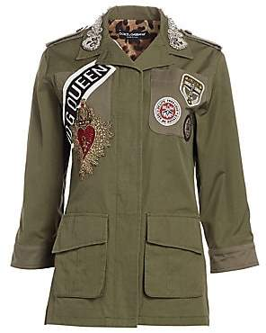 Dolce & Gabbana Women's Cotton Embroidered Logo Patch Jacket