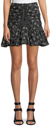 Cinq à Sept Amelia Ruched Floral Lace-Up Miniskirt