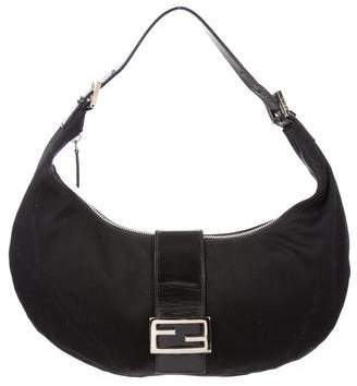Fendi Leather-Trimmed Woven Hobo