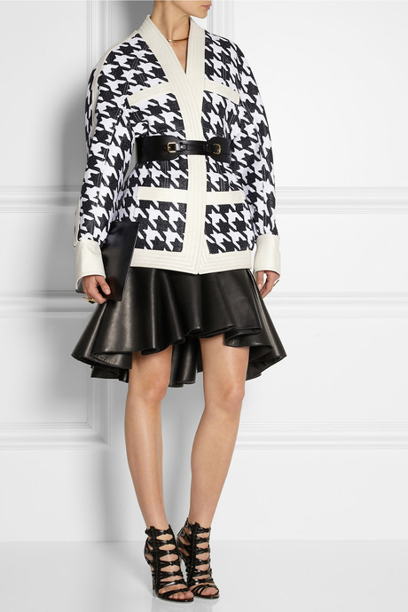 Balmain Leather-trimmed houndstooth woven jacket