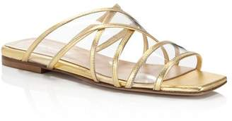 Charles David Women's Drea Strappy Patent Leather Illusion Slide Sandals