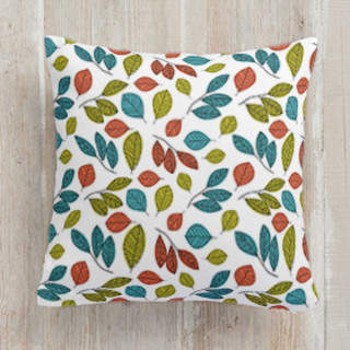 Illustrated Leaves Square Pillow