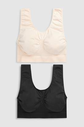 Next Womens Black/Nude Non Wired Seamless Sleep Bras Two Pack