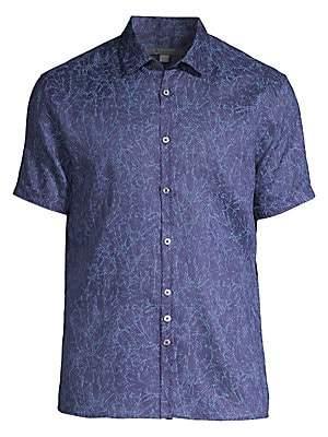 John Varvatos Men's Slim-Fit Short Sleeve Linen Sports Shirt