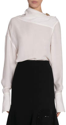 Victoria Beckham Herringbone Cloque Draped-Neck Blouse