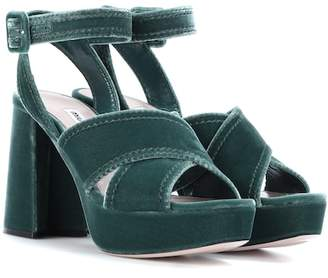Velvet plateau sandals