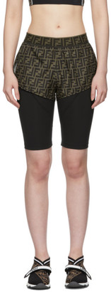 Fendi Black and Brown Forever Biker Shorts