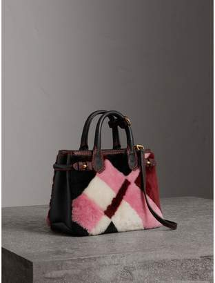 Burberry The Baby Banner in Patchwork Check Shearling and Leather