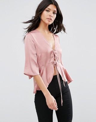 ASOS Satin Drape Tie Front Blouse $49 thestylecure.com
