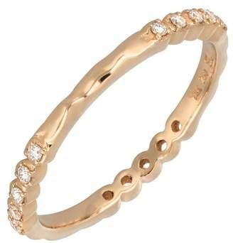 Bony Levy 18K Rose Gold Prong Set Diamond Stacking Band Ring - 0.12 ctw