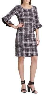 DKNY Plaid Flare-Sleeve Sheath Dress