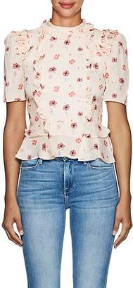 Laura Garcia Collection Women's Simone Floral Silk Peplum Blouse