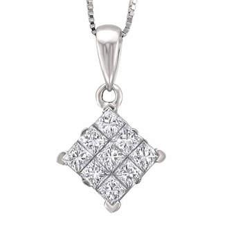 FINE JEWELRY Womens 3/4 CT. T.W. Genuine White Diamond 14K Gold Pendant Necklace