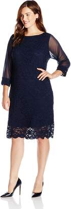 Tiana B Women's Plus-Size 3/4 Illusion Sleeve Lace Dress with Scalloped Hem