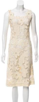 Luisa Beccaria Embroidered Midi Dress