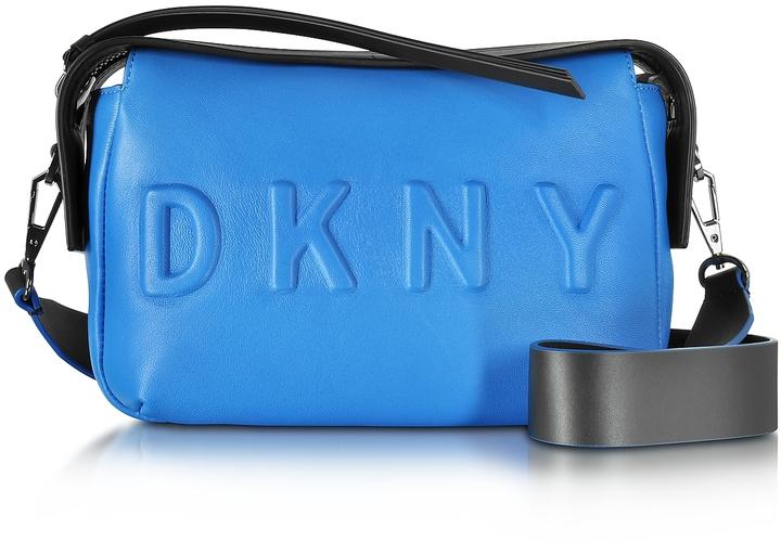 DKNY Debossed Logo Cerulean/Black Leather Crossbody Bag