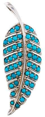 Jennifer Meyer 18K Turquoise Feather Pendant