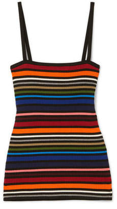 Dolce & Gabbana Striped Ribbed Cotton-blend Camisole - Orange