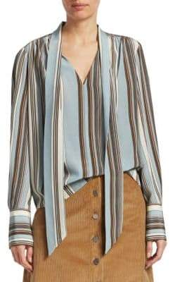 Elizabeth and James Mimi Striped Silk V-Neck Blouse