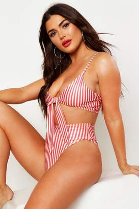 boohoo Stripe Tie Triangle High Waist Bikini