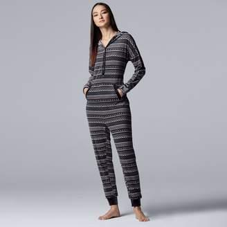 Vera Wang Women's Simply Vera Hooded One-Piece Pajamas