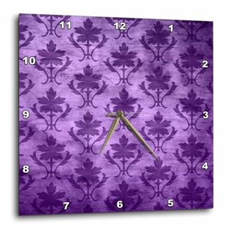 3dRose Vintage Wallpaper Pattern Purple, Wall Clock, 10 by 10-inch