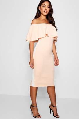 boohoo Off the Shoulder Sports Stripe Midi Dress