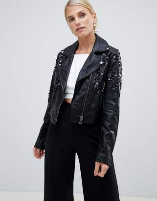 Forever Unique Cropped PU Embellished Jacket