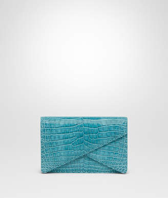 Bottega Veneta AQUA CROCODILE CLUTCH